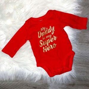 Carter's Red Long Sleeve Graphic Onesie NB